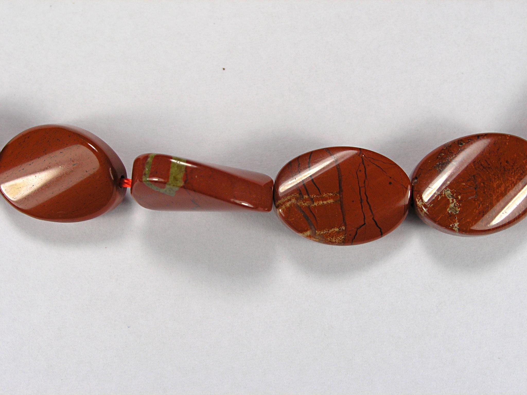 Бусина из яшмы красной, фигурная, 13x18 мм (овал, гладкая)