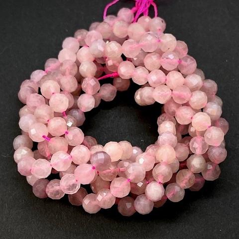 Бусины розовый кварц Мадагаскар A граненый 6 мм цена за 32 бусины (~19 см)