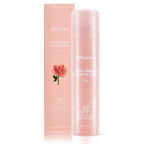 JMsolution Спрей для лица солнцезащитный с розовой водой - Glow luminous flower sun spray, 180мл
