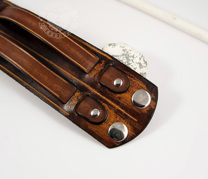 BL447-2 Широкий мужской браслет напульсник из натуральной кожи фото 03
