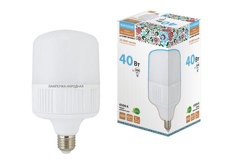 Лампа светодиодная T-40 Вт-230 В-6500 К–E27 (120x207 мм) НАРОДНАЯ