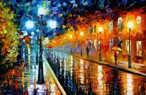 Алмазная Мозаика 30x40 Осенняя дождливая улица