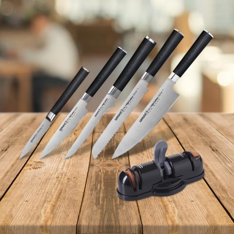 Набор из 5 кухонных ножей Samura Mo-V и точилки KSS-3000