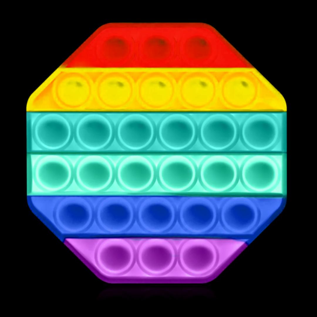 Пупырка вечная антистресс pop it (поп ит) светящийся в темноте восьмиугольник