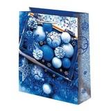 Новогодний подарочный пакет Синие шары (средний)