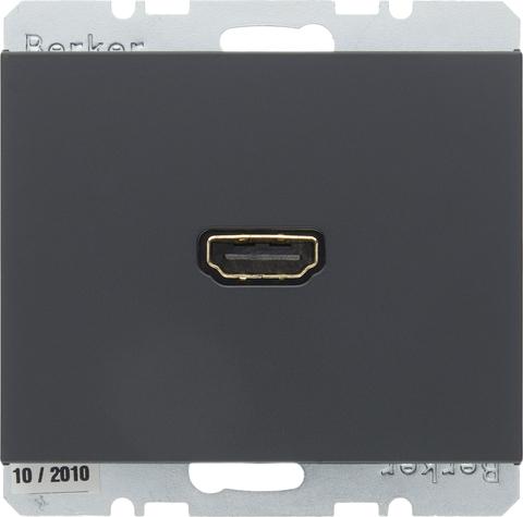 Розетка HDMI. Цвет Антрацит. Berker (Беркер). K.1. 3315427006. Цвет Антрацит. Berker (Беркер). K.1. 3315427006