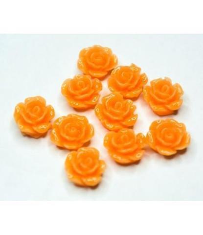 165 Стразы цветочки оранжевые 10 шт