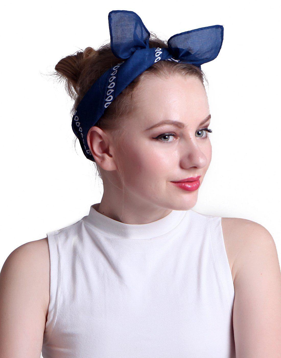 Синяя женская бандана фото