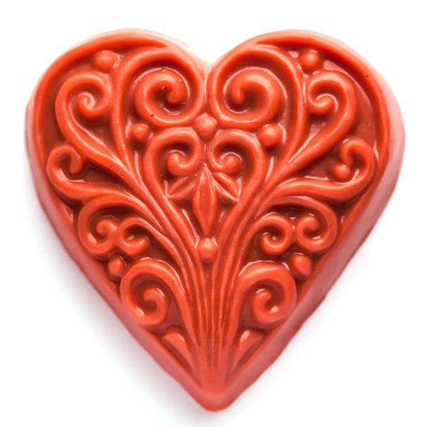 Форма для мыла Сердце с орнаментом