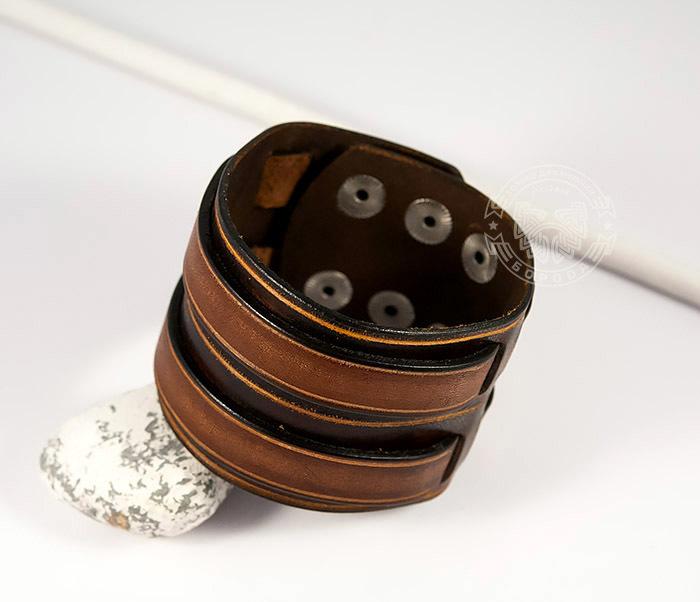 BL447-2 Широкий мужской браслет напульсник из натуральной кожи фото 05