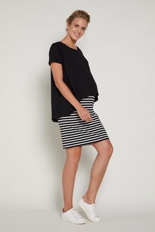 Платье для беременных и кормящих 09381 черно-белый