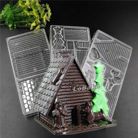 Поликарбонатная форма для шоколада  Шоколадный Домик 3в1