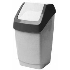 Ведро для мусора с крышкой-вертушкой М-пластика Хапс 15 л пластик серое (26х25х46 см)