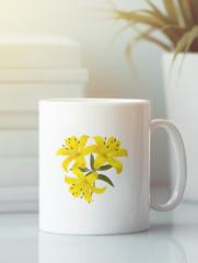 Кружка с изображением  Цветы (Лилии) белая 009
