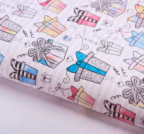 Бумага упаковочная крафтовая «Подарочки»