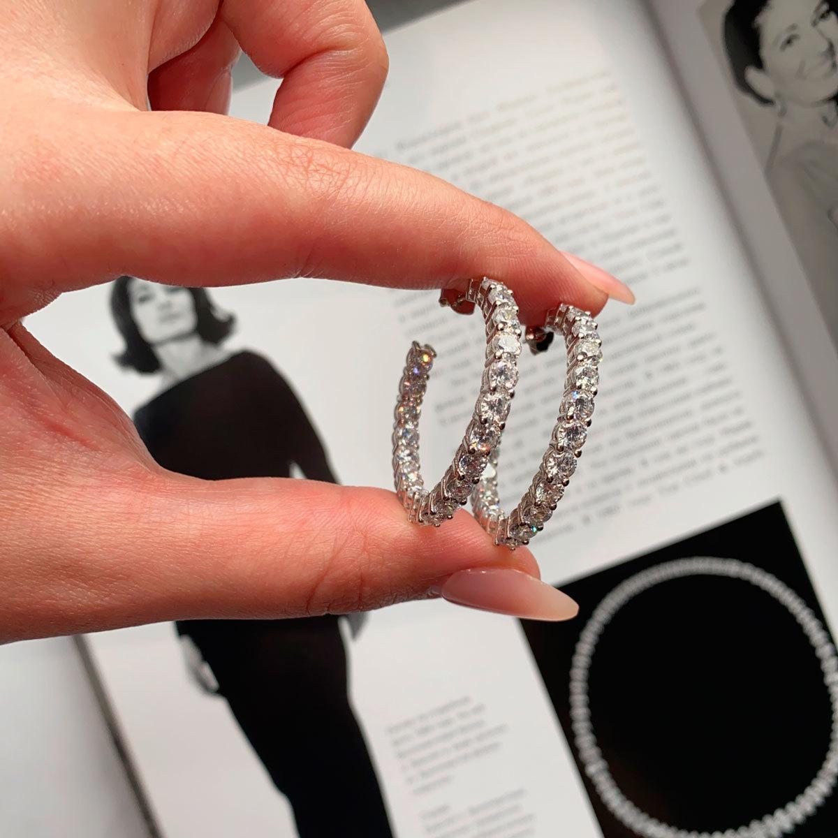 Серьги-конго с круглыми цирконами в закрепах (серебро 925)