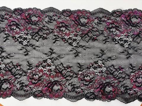 Эластичное кружево, 21 см, черное и малиновые цветы, м