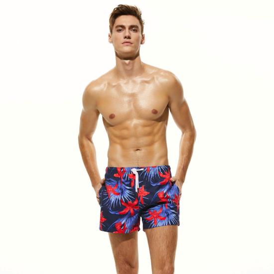 Мужские пляжные шорты синие с цветочным узором SEOBEAN