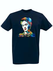 Футболка с принтом Фрида Кало (Frida Kahlo) темно-синяя 001