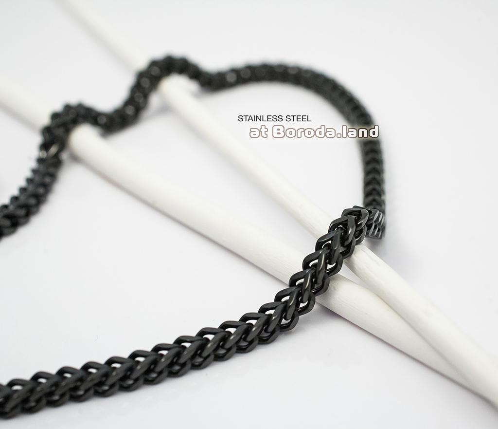 PM175 Квадратная цепь черного цвета из стали (55 см)