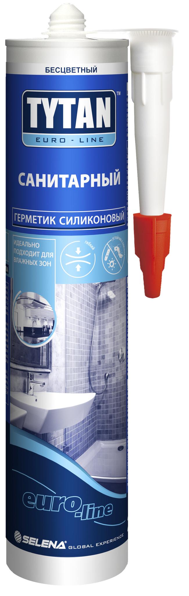 Герметик Tytan Euroline силиконовый санитарный бесцветный 290мл/330г