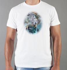 Футболка с принтом Волк (Wolf) белая 0017