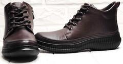 Кожаные ботинки демисезонные женские Evromoda 535-2010 S.A. Dark Brown.