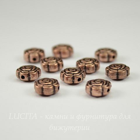 """Бусина металлическая """"Розочка"""" (цвет - медь ) 8х4 мм, 10 штук"""