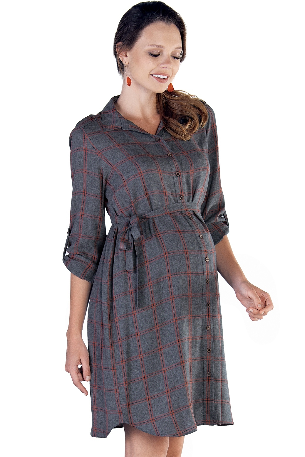 Фото платье-рубашка для беременных EBRU от магазина СкороМама, серый, оранжевый, размеры.