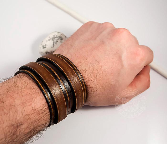 BL447-2 Широкий мужской браслет напульсник из натуральной кожи фото 07