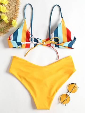 купальник желтый радуга с завышенной талией раздельный Yellow Rainbow 2