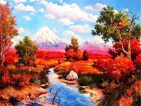 Алмазная Мозаика 30x40 Осенний вид на горы