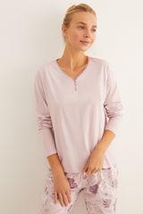 Рожева довга піжама з квітковим принтом
