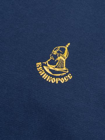Худи цвета синего денима с лампасами, без логотипа
