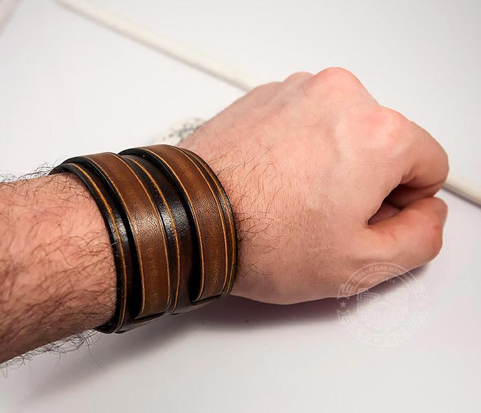 BL447-2 Широкий мужской браслет напульсник из натуральной кожи фото 08