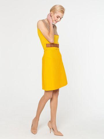 Фото летняя желтая юбка а-силуэта из хлопка на молнии - Юбка Б032-380 (1)