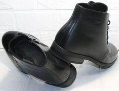 Теплые мужские ботинки с мехом Ikoc 3640-1 Black Leather.