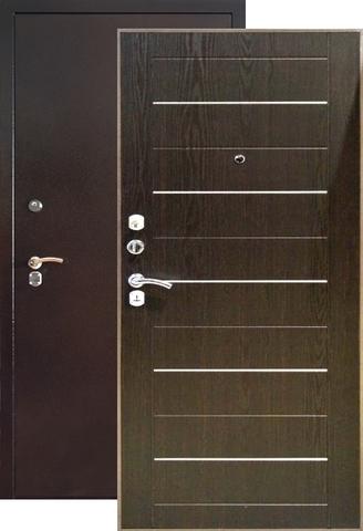 Дверь входная Капучино Мокко К6, 2 замка, 1,5 мм  металл, (антик капучино+венге)