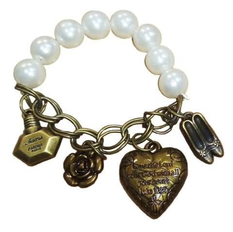 Купить Винтажный браслет с жемчугом и сердечком в Магазине тельняшек