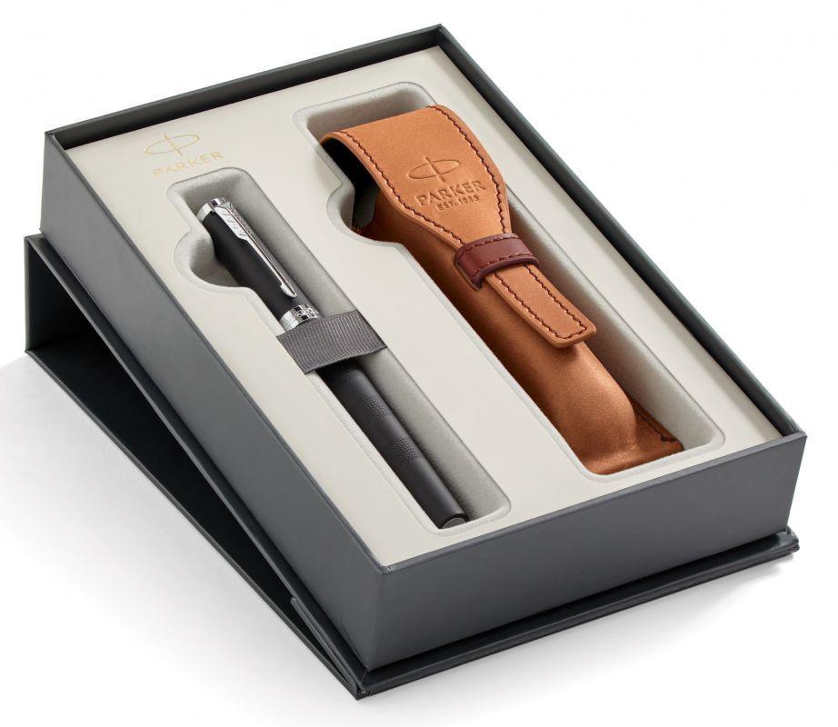 Набор подарочный Parker Ingenuity L - Black Rubber CT, ручка 5й пишущий узел, M + чехол
