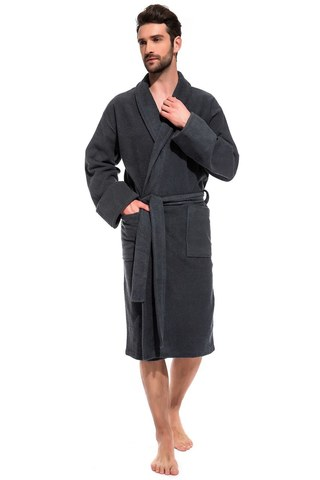 Мужской банный халат Grey King 305 серый