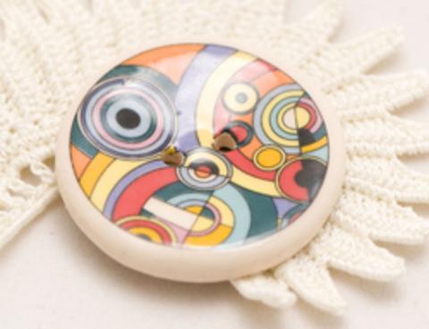 Пуговица керамическая с абстрактными узорами, цвета жёлтый, сиреневый, красный, морской волны, большая, размер 35 мм