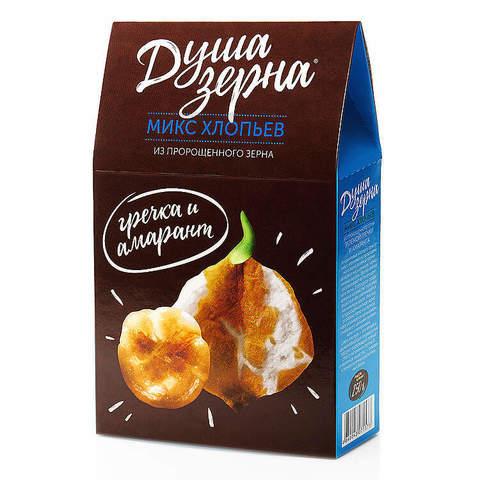 "Смесь хлопьев из пророщенного зерна ""Душа зерна"" из гречки и амаранта, без варки, без сахара 250 г"