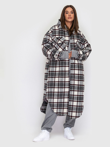 Пальто утепленное в клетку YOS