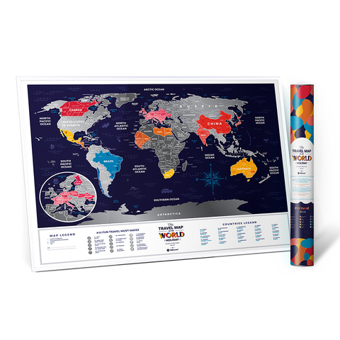1DEA.me Скретч Карта Мира Holiday, 80 × 60 см