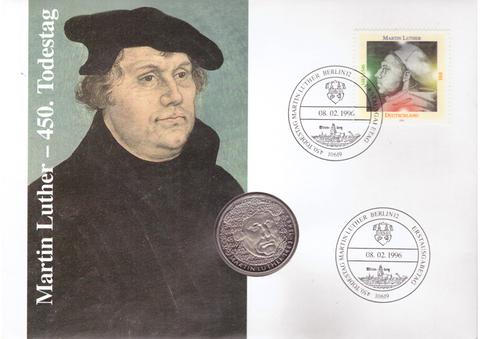 5 марок. 500 лет со дня рождения Мартина Лютера. (G) Германия. Медноникель. 1983 г. PROOF. В конверте