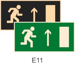 фотолюминесцентные знаки Е11 Направление к эвакуационному выходу прямо (правосторонний)