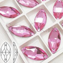 Стразы пришивные стеклянные Navette Light  Rose, Лодочка Лайт Розе светло-розовый