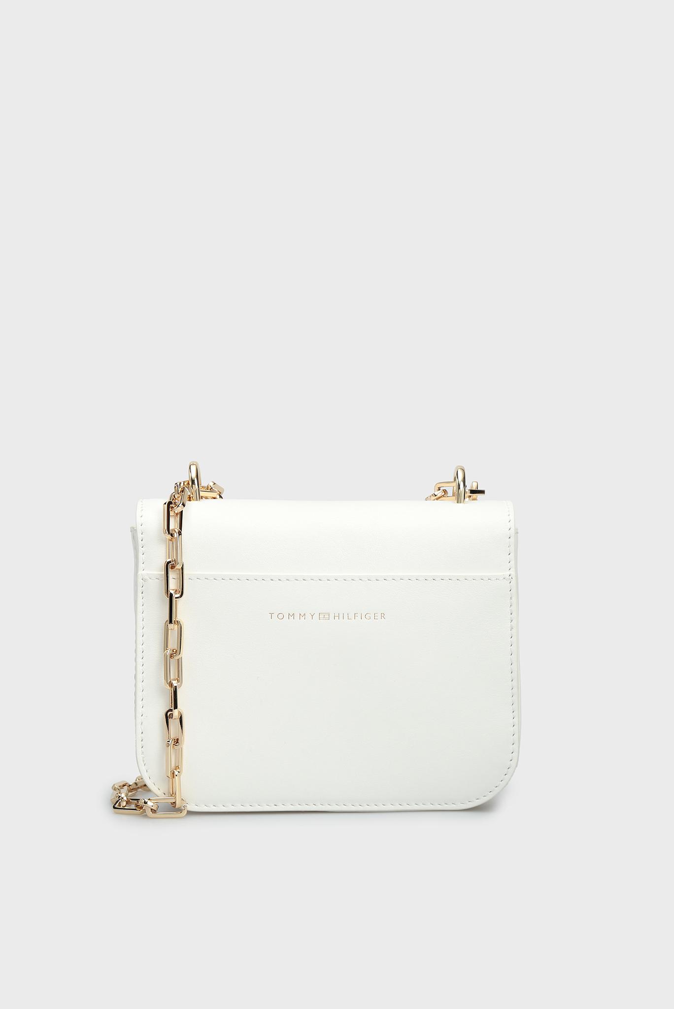 Женская белая кожаная сумка через плечо TURNLOCK MINI Tommy Hilfiger