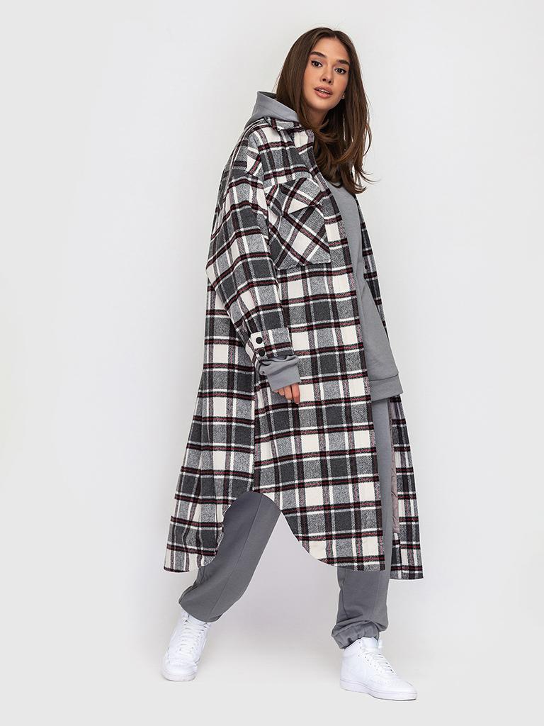 Пальто утепленное в клетку YOS от украинского бренда Your Own Style